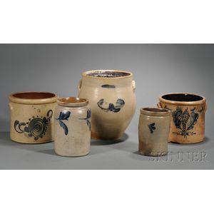 Five Cobalt-decorated Stoneware Items