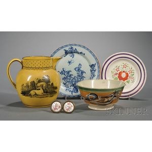 Four Assorted Early Pottery Items and a Pair of Floral Enameled Mirror Supports