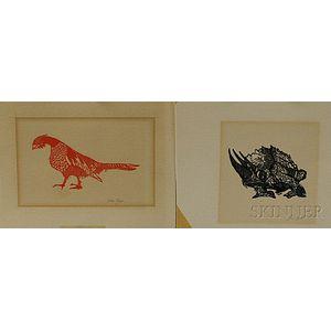Gillian Tyler (American, 20th Century)      Two Prints: Pheasant