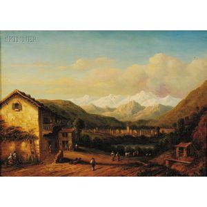Continental School, 19th Century      Village in an Alpine Valley