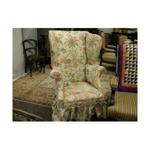 Federal Upholstered Mahogany Wing Chair.