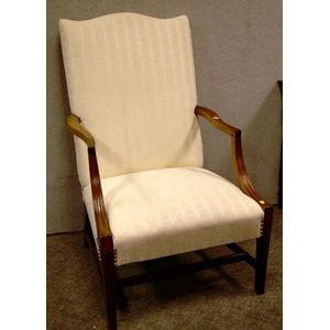 Federal-style Upholstered Mahogany Lolling Chair.