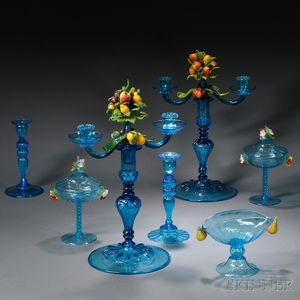 Large Group of Blue Venetian and Steuben Glassware