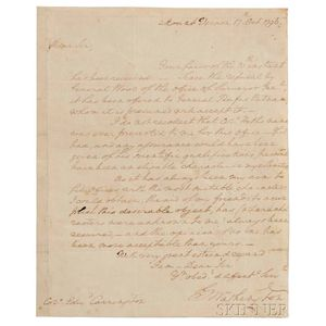 Washington, George (1732-1799) Autograph Letter Signed, Mount Vernon, 17 October 1796.