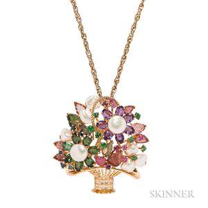14kt Gold Gem-set Flower Basket Pendant