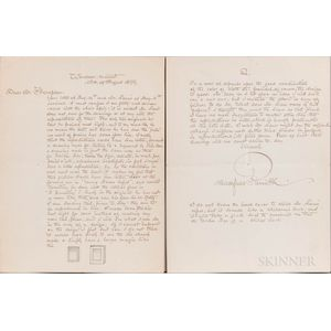 Parrish, Maxfield (1870-1966) Autograph Letter Signed, 15 August 1899.