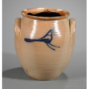 Cobalt Bird-decorated Stoneware Jar