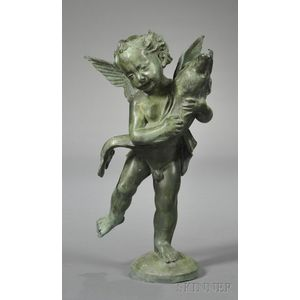 Lead Garden Statue of a Putto Holding a Dolphin