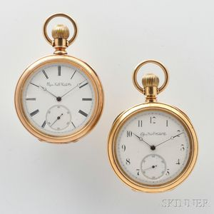 Two Gold Elgin Open Face Watches