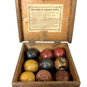 """Boxed and Painted Game of """"Parlour Bowls.""""     Estimate $150-250"""