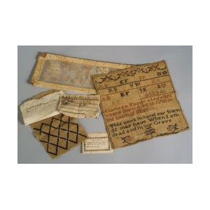 Needlework Sampler, School Admittance Ticket, and Four Textile Fragments