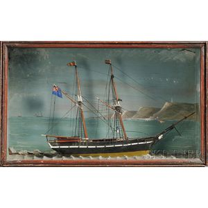 Small Cased Diorama of the British Schooner NORA