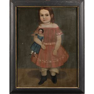 American School, 19th Century      Portrait of a Young Girl Wearing a Red Dress and Holding a Doll