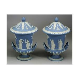 Pair of Wedgwood Light Blue Jasper Dip Vases and Covers