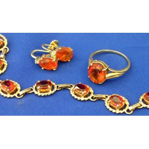14kt Gold and Citrine Bracelet, Ring and Earrings.