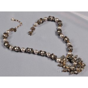 Vintage Imitation Baroque Pearl and Roses Montees   Pendant Necklace,   Miriam Haskell