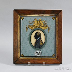 Framed Reverse-painted Portrait Bust of George Washington