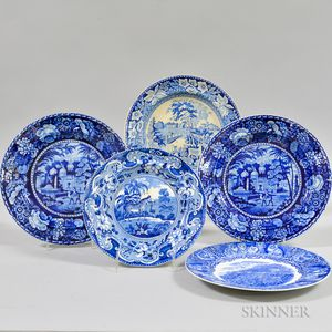 Five Blue and White Transfer-decorated Ceramic Plates