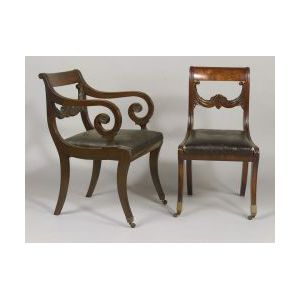 Set of Six Classical Carved Mahogany Veneer Side Chairs and Matching Armchair