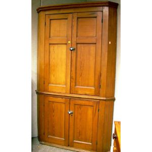 Pine Four-Door Corner Cupboard