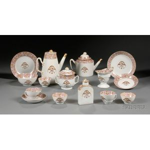 Partial Chinese Export Porcelain Tea and Coffee Service with Eagle Decoration