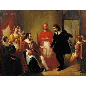 Louis Pisani (Italian, 19th Century) Cardinal d Este Presenting Torquato Tasso to the Duke of Ferrara and...