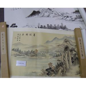 Six Boxed Asian Scrolls and Three Unframed Pictures