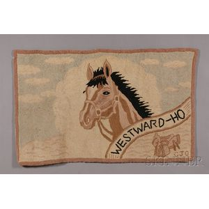 "Wool ""WESTWARD HO"" Hooked Rug"