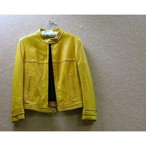 Monet Ladys Yellow Leather Short Tunic Jacket.