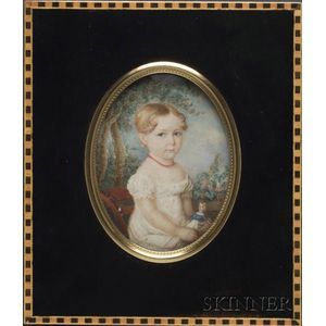 Portrait Miniature of a Girl in White Dress With Her Doll