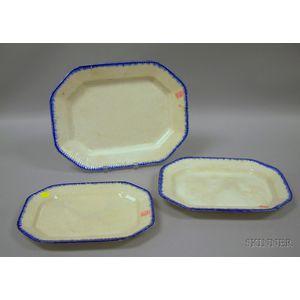 Set of Three Graduated Leeds Blue Feather-edge Platters