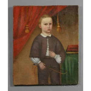 American School, 19th Century      Portrait of a Boy with a Whip