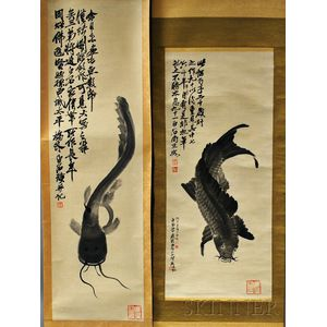 Two Hanging Scrolls Depicting Fish