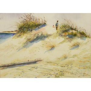 Robert Driscoll (Massachusetts, 20th/21st Century)       Beach Scene with Sand Dunes