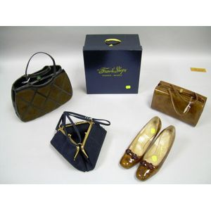Two Vintage Purses and a Vintage Brown Patent Leather Purse with Matching Pumps.