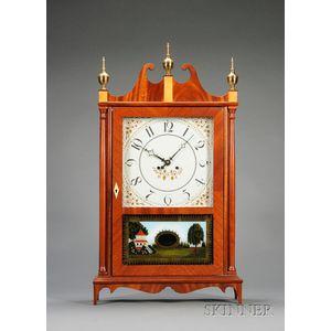 Mahogany Reproduction Pillar and Scroll Clock by Elmer O. Stennes