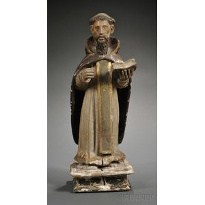 Carved, Polychromed and Gilt Highlighted Wood Statue of Santo Domingo