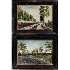 American School, 20th Century      Two Landscapes: Tree-Lined Road