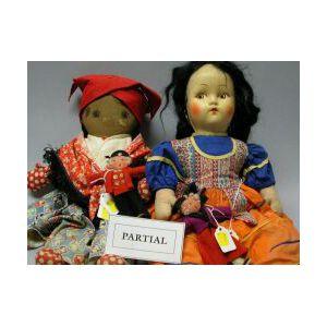 Twelve Miscellaneous Dolls in a Basket