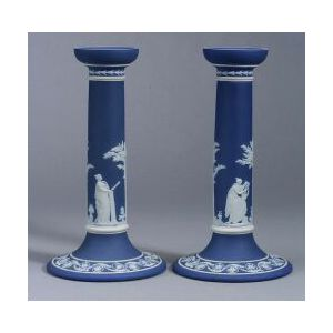 Pair of Wedgwood Dark Blue Jasper Dip Candlesticks