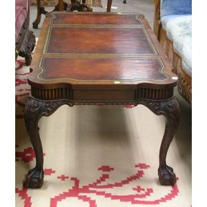 Weiman Georgian-style Leather-Inset Carved Mahogany Coffee Table.