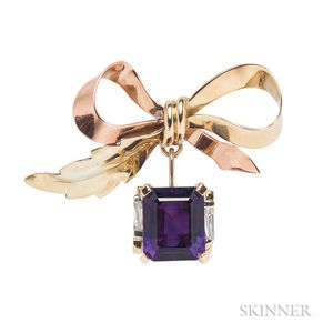 14kt Bicolor Gold, Amethyst, and Diamond Bow Brooch