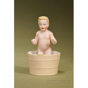 German Bisque Novelty Figure of a Bathing Baby