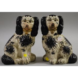 Pair of Staffordshire-type Painted Seated Spaniels