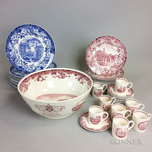 Forty-four Wedgwood Harvard Transfer-decorated Tableware Items