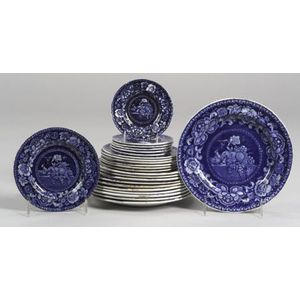 Twenty-four Small Blue Transfer Decorated Staffordshire Pottery Plates