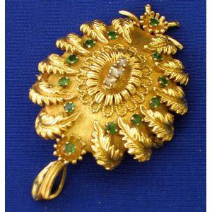 18kt Gold, Emerald and Diamond Pendant/Brooch.