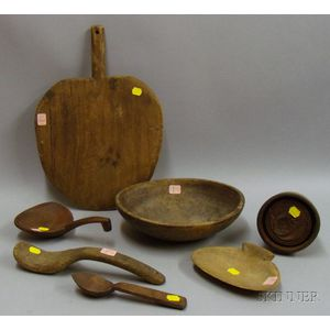 Seven Assorted Wooden Kitchen and Hearth Items