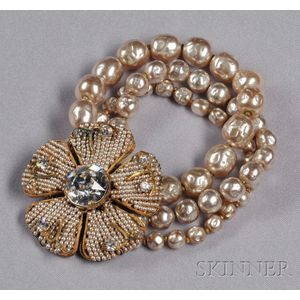 Vintage Imitation Baroque Pearl Flower Bracelet, Miriam Haskell