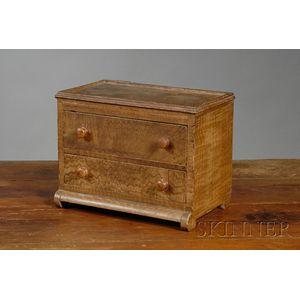 Miniature Classical Grain-painted Two-drawer Bureau